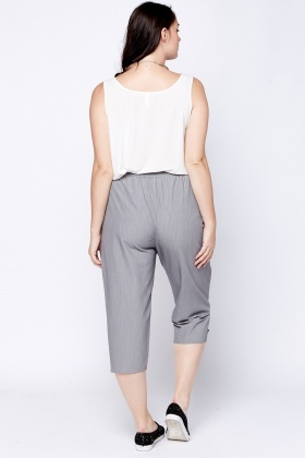 Casual Grey Cropped Trousers