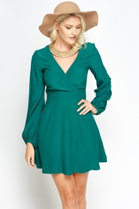 Deep V-Neck Skater Dress