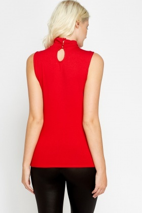 High Neck Casual Sleeveless Top