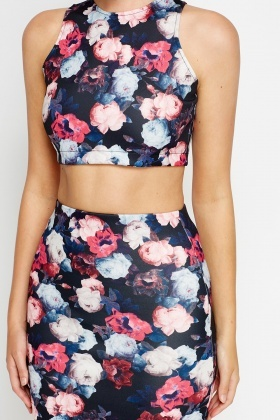 Multi Floral Crop Top And Set