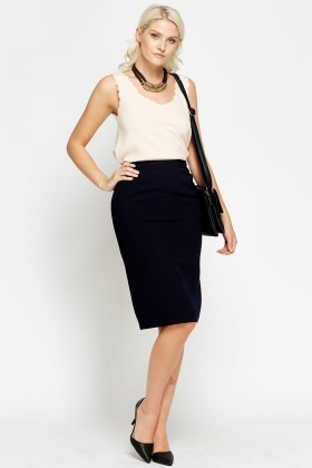 Smart Navy Pencil Skirt