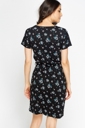 Black Floral T-Shirt Dress