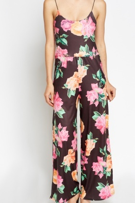 Black Floral Wide Leg Jumpsuit