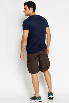 Dark Grey Cotton Blend Shorts