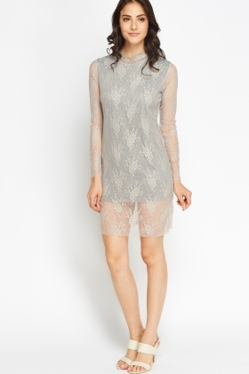 High Neck Lace Overlay Dress