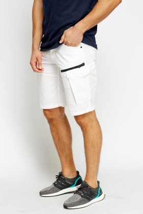 Multi Pocket Off White Shorts