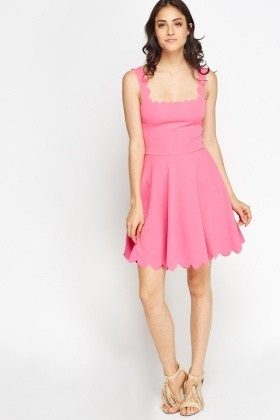 Scallop Neck Skater Dress