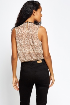 Brown Elasticated Leopard Print Top