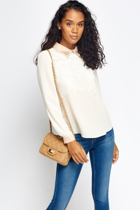 Encrusted Collar Lace Overlay Blouse