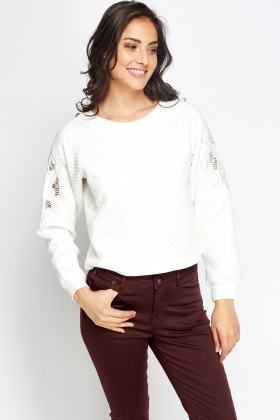 Jacquard Mesh Sleeves Jumper