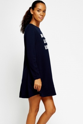 Logo A-Line Long Sleeve Dress