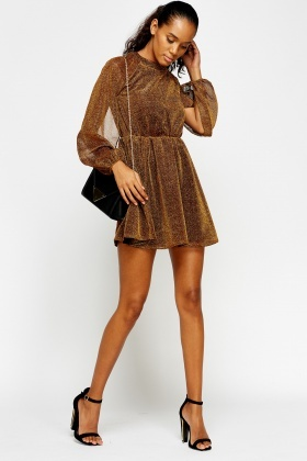 Metallic Gold High Neck Skater Dress