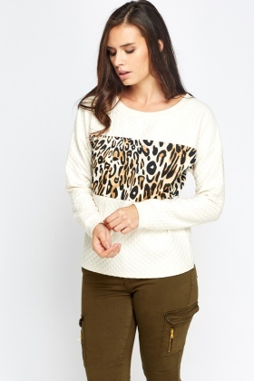 Animal Printed Panel Quilted Sweatshirt