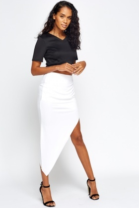 Asymmetric White Skirt