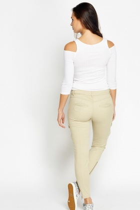 Beige Pocket Side Trousers
