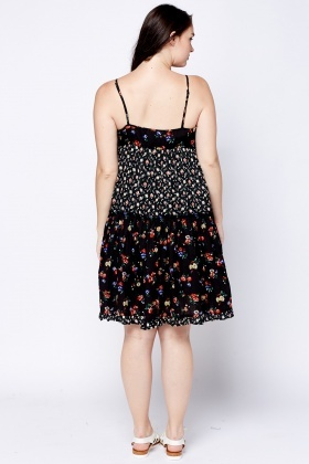 Floral Ruffle Panel Dress