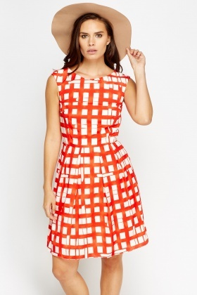 Red Check Grid Skater Dress
