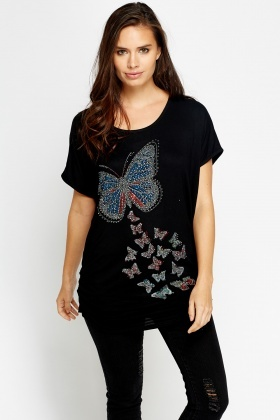 Studded Butterfly T-Shirt Top