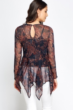2 In 1 Asymmetrical Paisley Printed Top