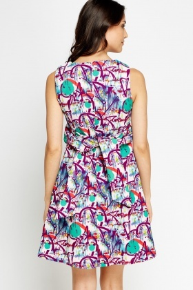 Abstract Printed Skater Dress