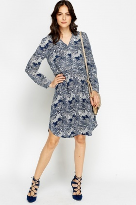 Blue Printed Flow Shirt Dress