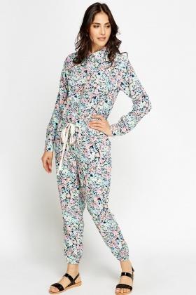 bde7ee962351 Floral Long Sleeve Jumpsuit - Just £5