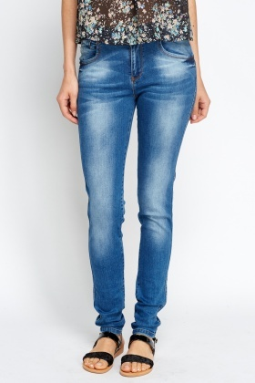 Light Blue Denim Straight Leg Jeans
