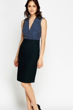 Polka Dot Bodice Office Dress