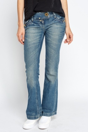 Straight Leg Washed Denim Jeans