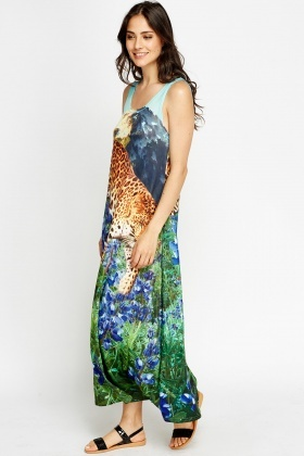 Leopard Printed A-Line Maxi Dress