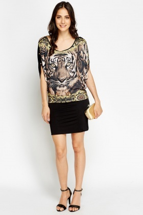 Tiger Printed Casual Dress