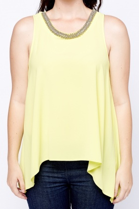 Jewelled Neck Yellow Top
