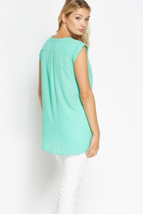 Large Pocket Front Green Top