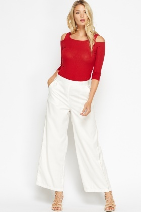 Metallic Trim Wide Leg Trousers