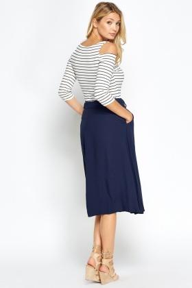 Tie Up Navy Midi Skirt - Just £5
