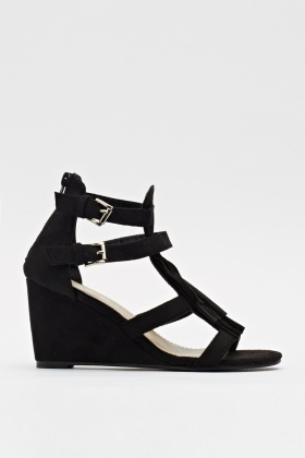 Fringed Suedette Wedged Sandals