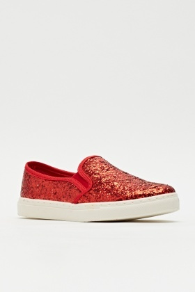 Glittered Slip-on Shoes