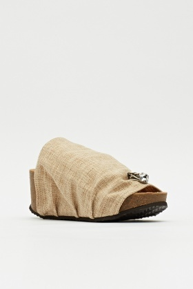 Linen Cork Wedge Slip On Shoe