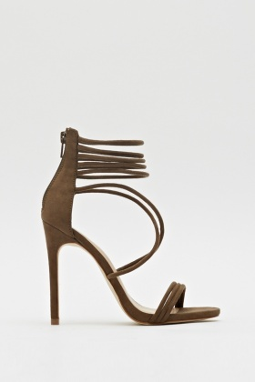 Strappy Suedette Heeled Sandals