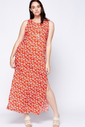 Flower Slit Hem Dress
