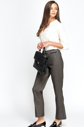 Grey Formal Wide Trousers