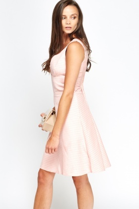 Plunge Light Pink Swing Dress
