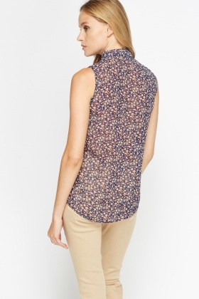 Mini Flowers Print Blouse Top