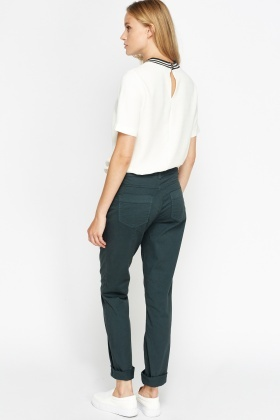 Straight Leg Forest Green Trousers