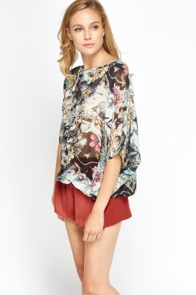 Tie Back Sheer Floral Top