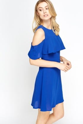 Cold Shoulder Flared Top Dress