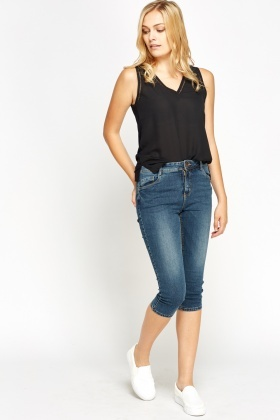Casual Cropped Denim Blue Jeans