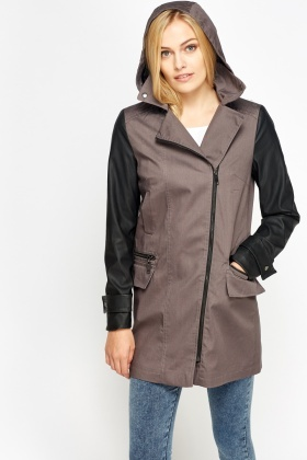 Faux Leather Sleeve Parka Coat - Just £5
