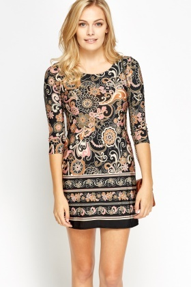 Printed 3/4 Sleeve Mini Bodycon Dress