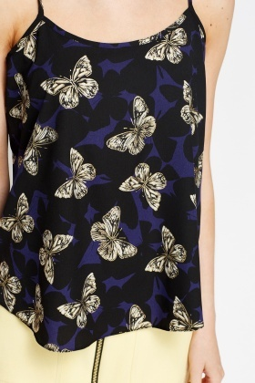 Black Butterfly Print Cami Top